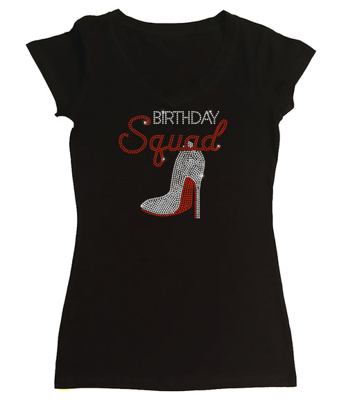 Womens T-shirt with Birthday Squad w/ Heel in Rhinestones
