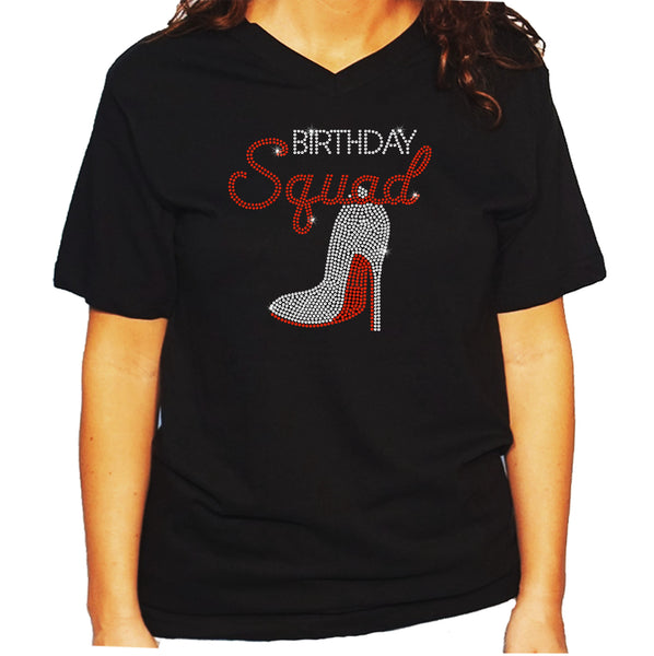 Women's / Unisex T-Shirt with Birthday Squad w Heel in Rhinestones