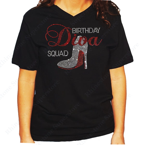 Women's / Unisex T-Shirt with Birthday Diva Squad with Heel in Rhinestones