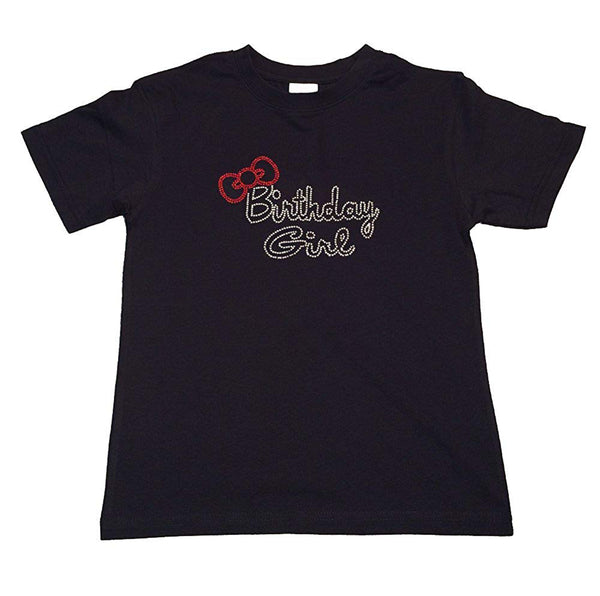"Girls Rhinestone T-Shirt "" Birthday Girl with Red Bow "" Size 3 to 14 Available"