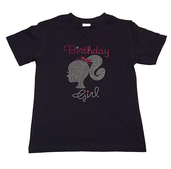 "Girls Rhinestone T-Shirt "" Birthday Girl with Silhouette "" Size 3 to 14 Available"