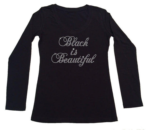 Womens T-shirt with Black is Beautiful Script in Rhinestones