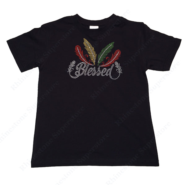 "Girl's Rhinestone T-Shirt "" Blessed with Colorful Feathers """