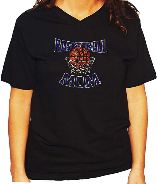 Women's / Unisex T-Shirt with Blue Basketball Mom in Rhinestones