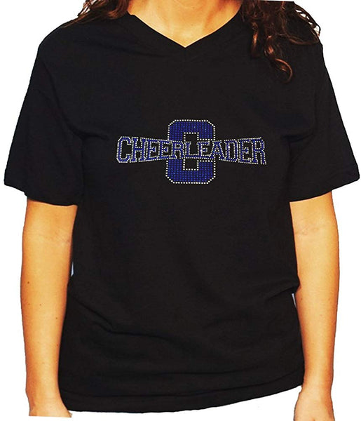 Women's / Unisex T-Shirt with Blue Cheerleader in Rhinestones