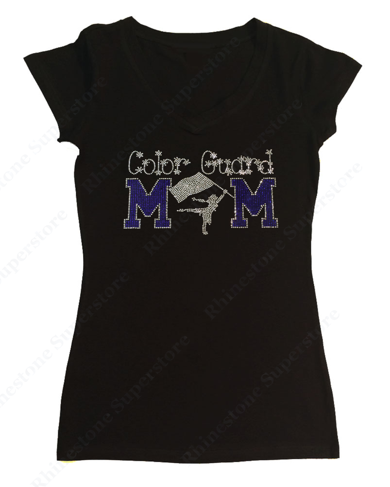 Womens T-shirt with Blue Color Guard Mom in Rhinestones