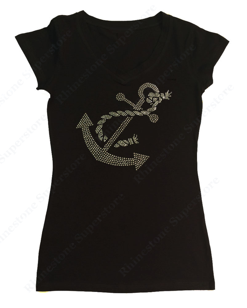 Womens T-shirt with Boat Anchor in Rhinestones