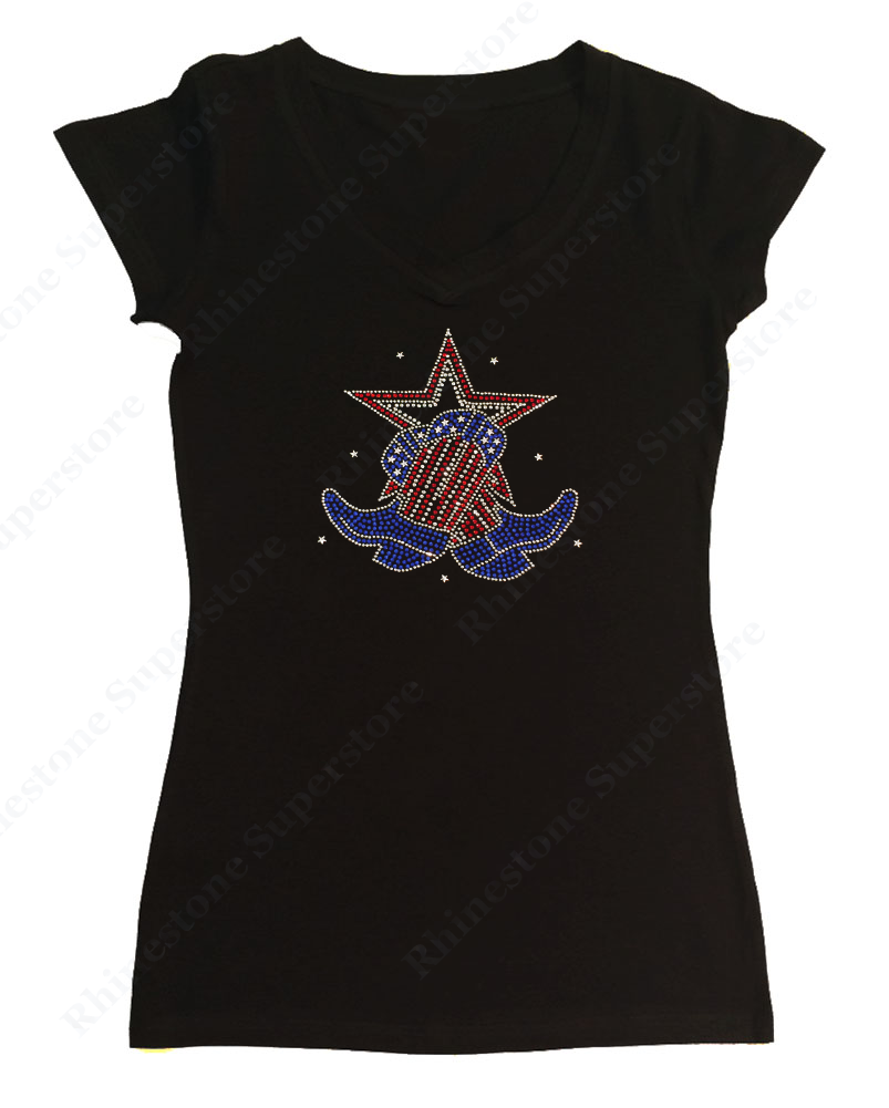 Womens T-shirt with Boots and Star 4th of July in Rhinestones