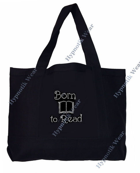 "Rhinestone Sturdy Tote Bag with Zipper & Front Pocket "" Born to Read "" Book Bag, Library Book Bag, Bling"