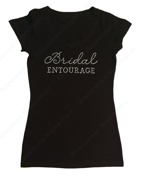 Womens T-shirt with Bridal Entourage in Rhinestones