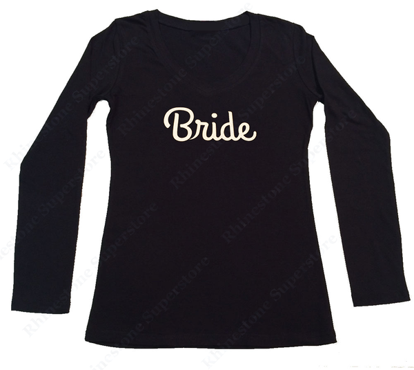 Womens T-shirt with Bride in Glitter Print