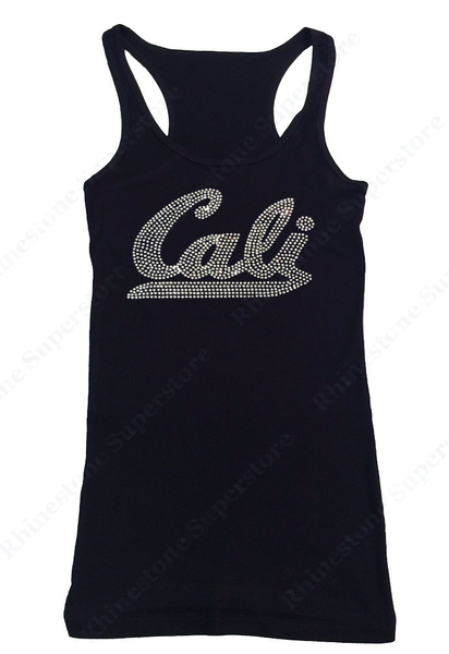 Womens T-shirt with Crystal Cali in Rhinestones
