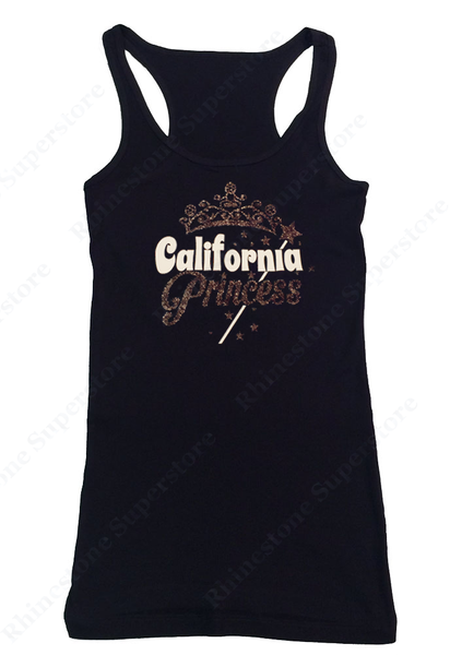Womens T-shirt with California Princess in Glitter print