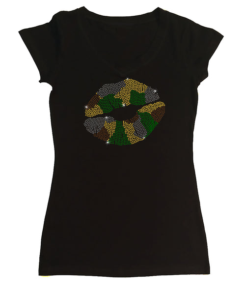 Womens T-shirt with Camo Lips in Rhinestones