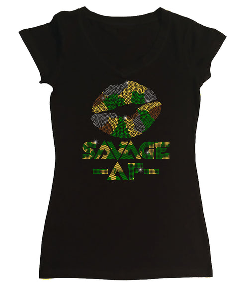Womens T-shirt with Camo Lips Savage AF in Rhinestones