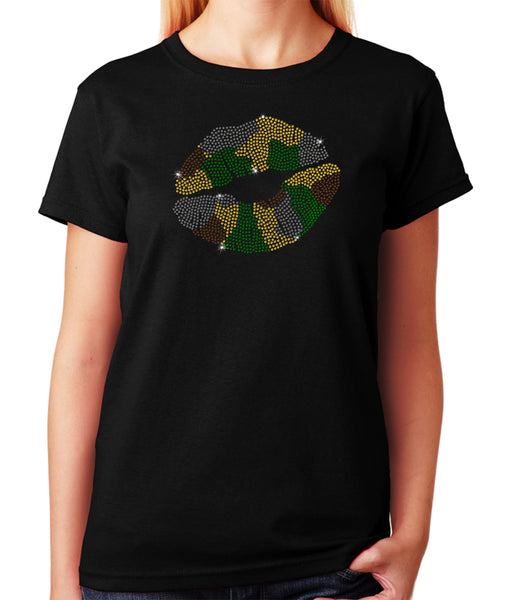 Women's / Unisex T-Shirt with Camo Lips in Rhinestones