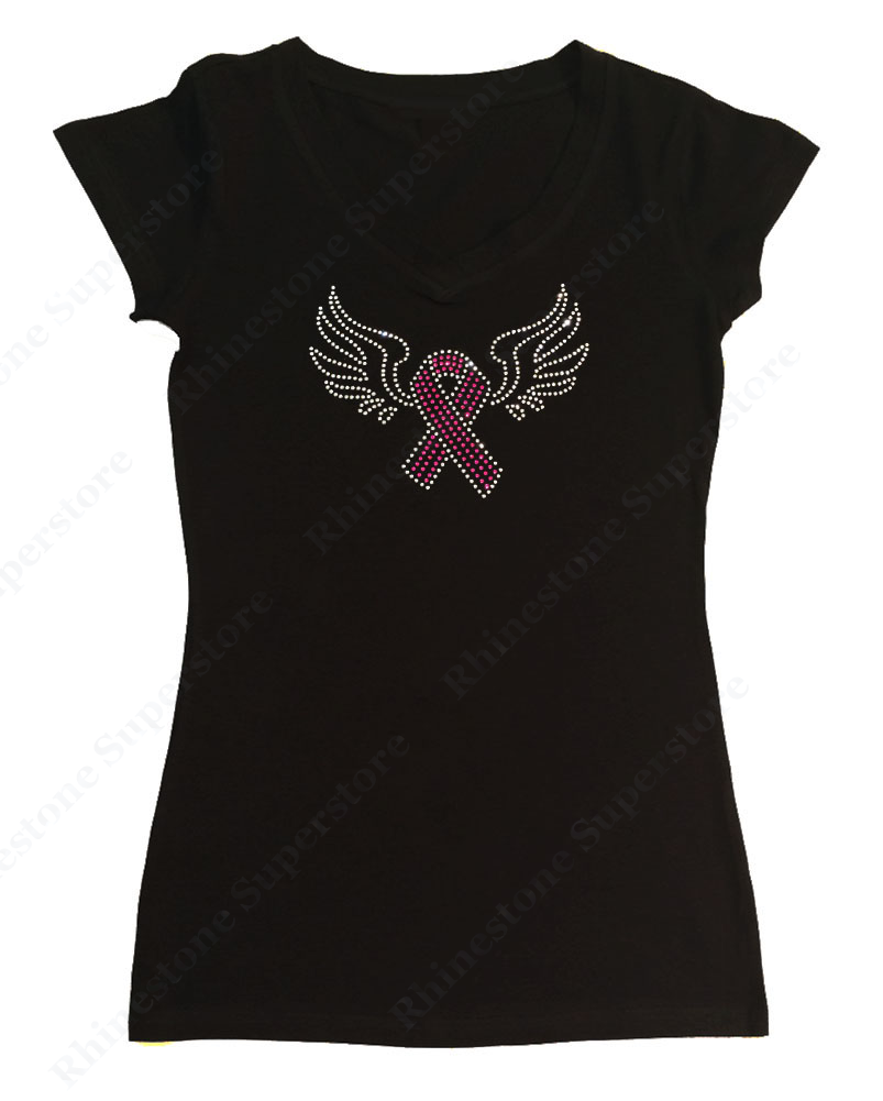Womens T-shirt with Cancer Ribbon with Wings in Rhinestones