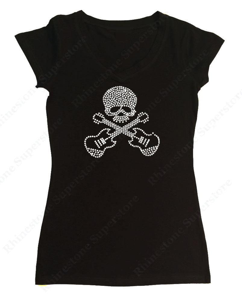 Womens T-shirt with Skull with Guitars in Rhinestones