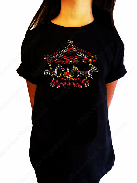 "Girls Rhinestone & Stud T-Shirt "" Carousel with Horses "" Kids Size 3 to 14 Available, Bling"