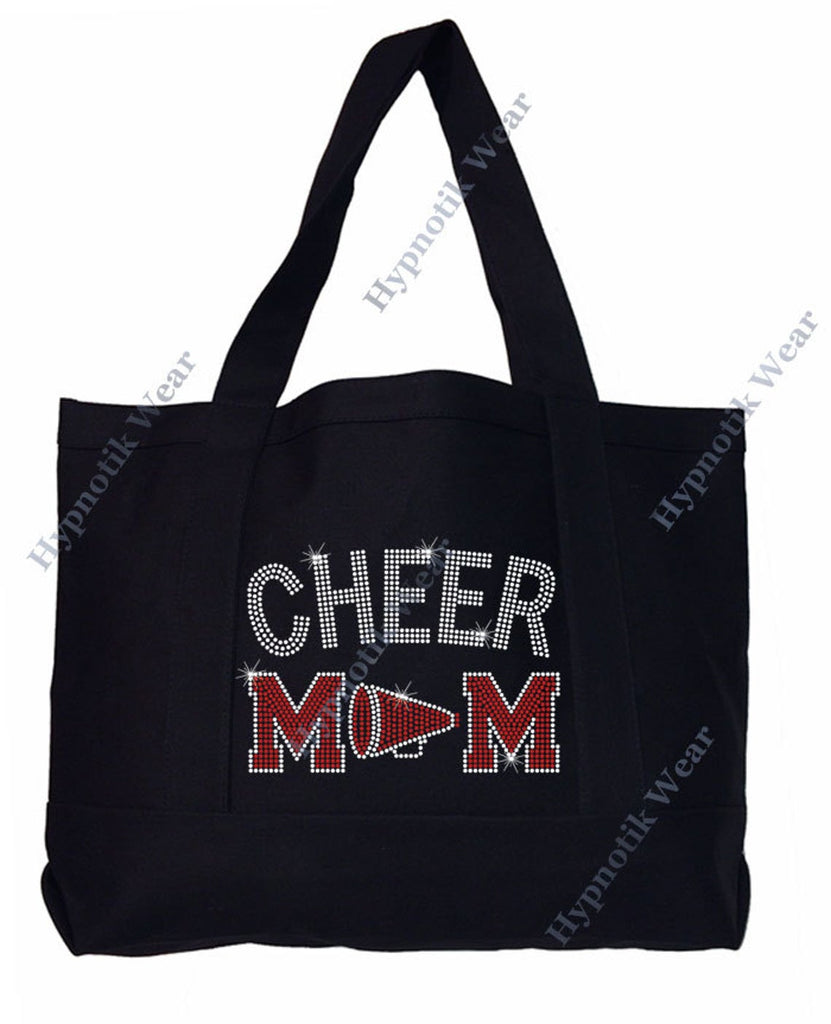 "Rhinestone Sturdy Tote Bag with Zipper & Front Pocket "" Cheer Mom with Megaphone "" in Various Color, Bling"