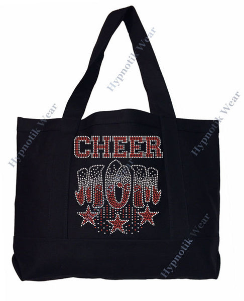 "Rhinestone Sturdy Tote Bag with Zipper & Front Pocket "" Cheer Mom with Stars "" in Various Color, Bling"