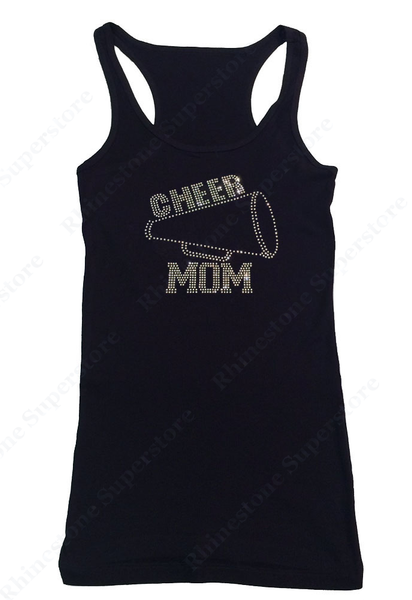 Womens T-shirt with Cheer Mom With Megaphone in Rhinestones