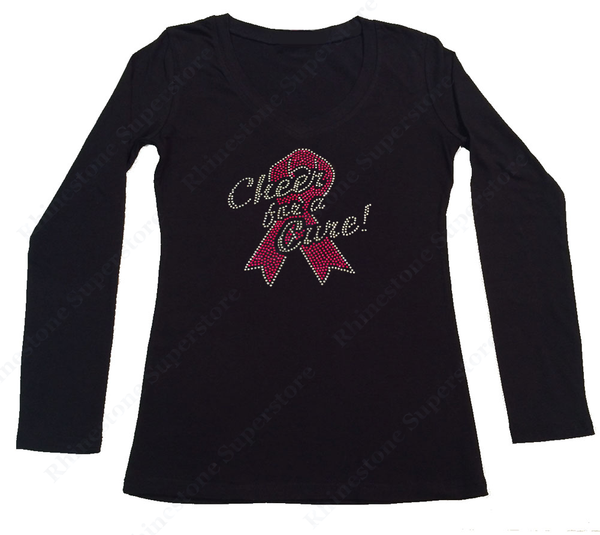 Womens T-shirt with Cheer for a Cure with Pink Cancer Ribbon in Rhinestones
