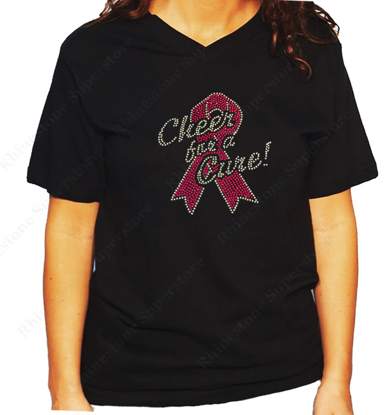 Women Unisex T-Shirt with Cheer for a Cure with Pink Cancer Ribbon in Rhinestones V Neck