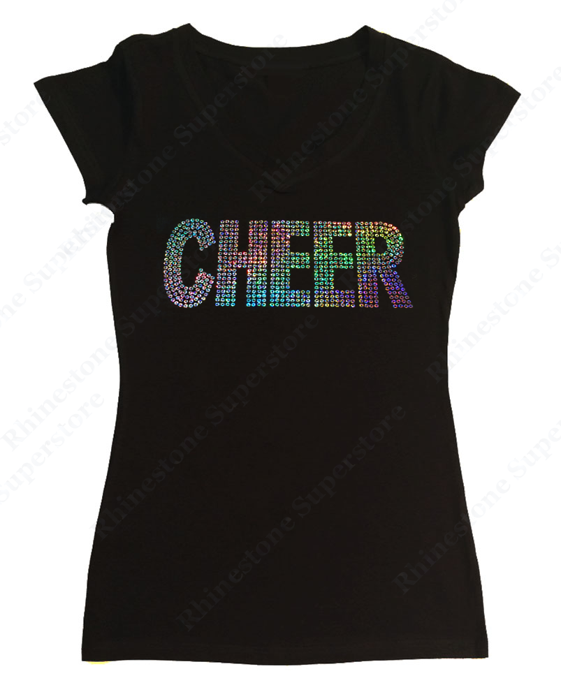 Womens T-shirt with Cheer in AB Sequence