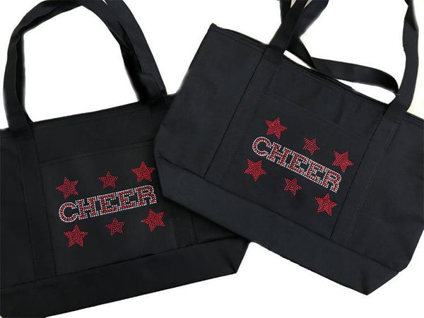 "Rhinestone Sturdy Tote Bag with Zipper & Front Pocket "" Cheer with Stars "" in Various Color, Bling"