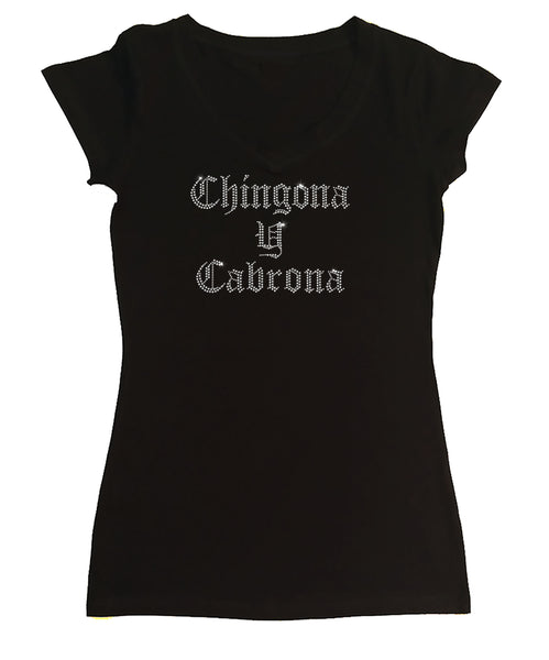 Women's Rhinestone Fitted Shirt Chingona y Cabrona
