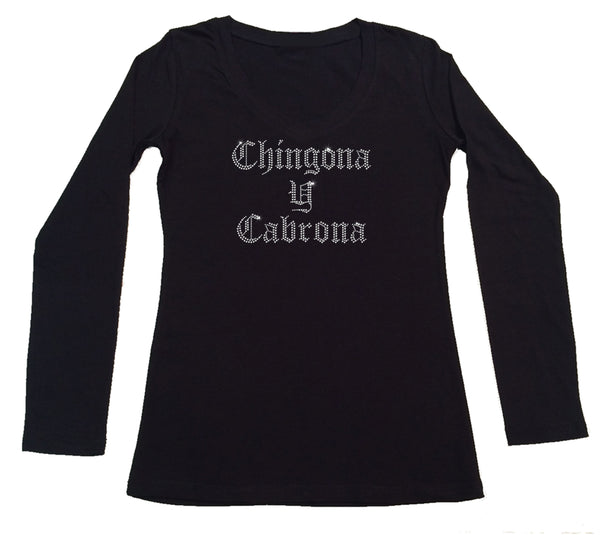 Womens T-shirt with Chingona y Cabrona in Rhinestones