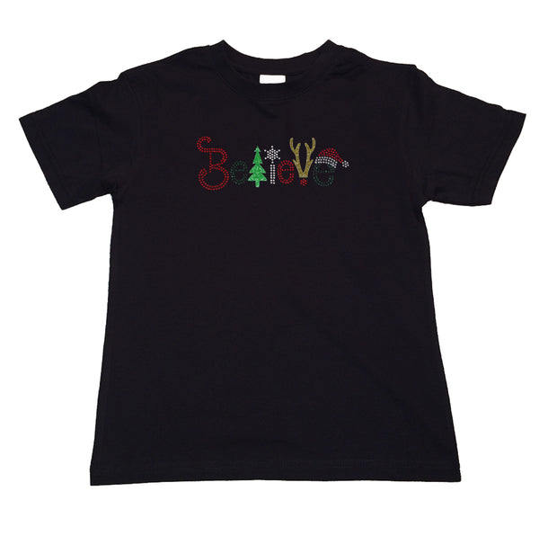 "Girls Rhinestone T-Shirt "" Christmas Believe in Glitters and Rhinestones "" Kids Size 3 to 14 Available"