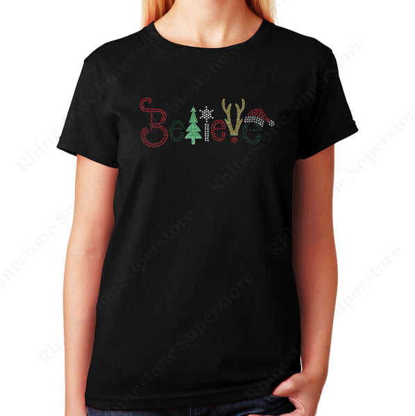Unisex T-Shirt with Christmas Believe in Glitters and Rhinestones