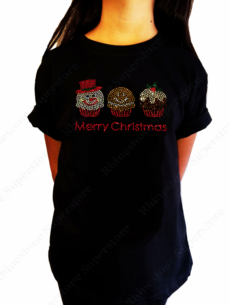 "Girl's Rhinestone T-Shirt "" Christmas Cupcakes with Frosty Ginger Bread Man Mistletoe """