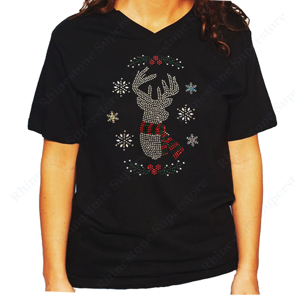 Women's / Unisex T-Shirt with Christmas Reindeer with Snowflakes in Rhinestones