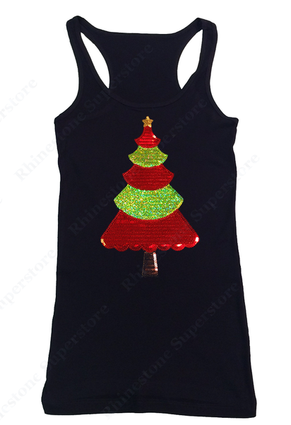 Womens T-shirt with Christmas Tree in Sequence