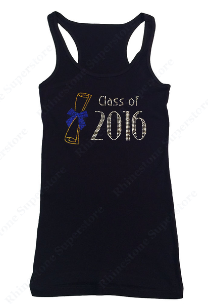 Womens T-shirt with Class of 2016 in Rhinestones
