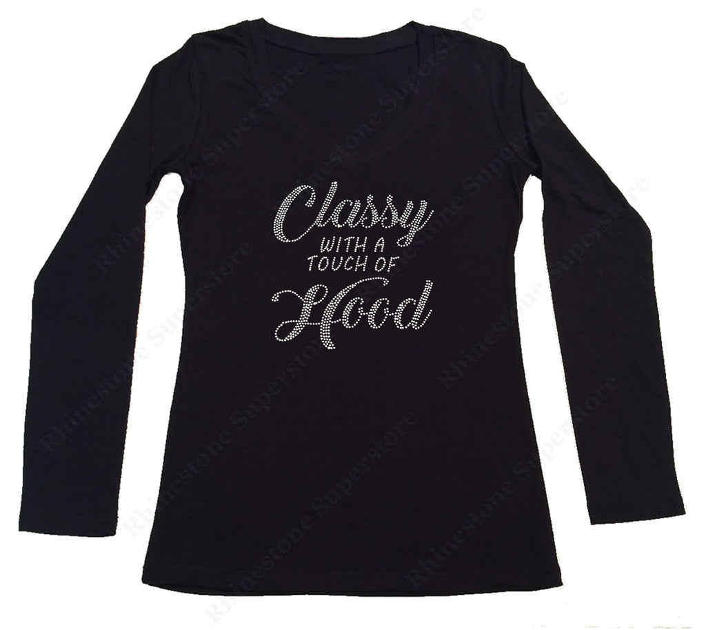 Sm to 3X Women/'s Rhinestone T-Shirt  Classy with a Touch of Hood in Size