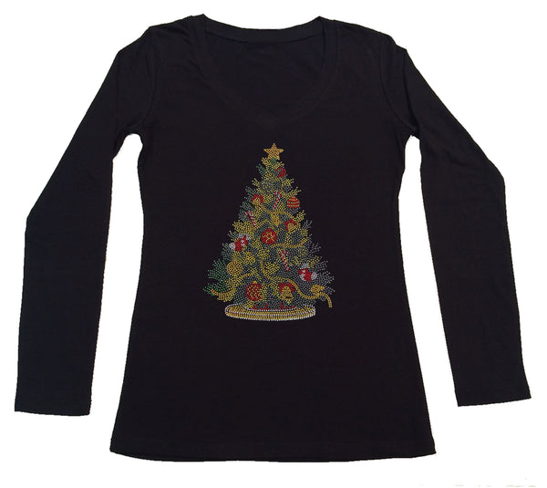 Womens T-shirt with Colorful Christmas Tree in Rhinestuds