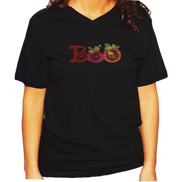 Women's / Unisex T-Shirt with Colorful Halloween Boo in Rhinestones