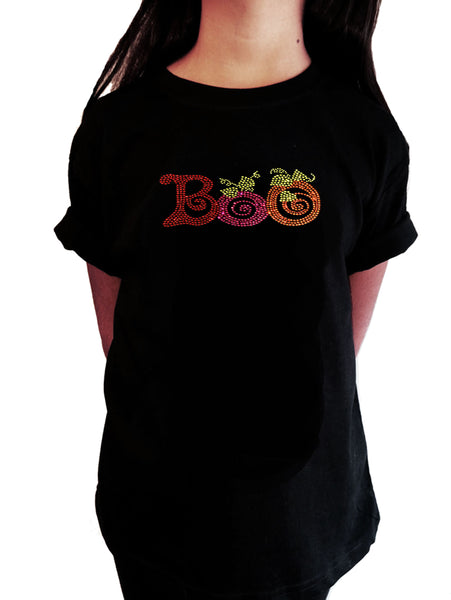 "Girls Rhinestone T-Shirt "" Colorful Halloween Boo in Rhinestones """