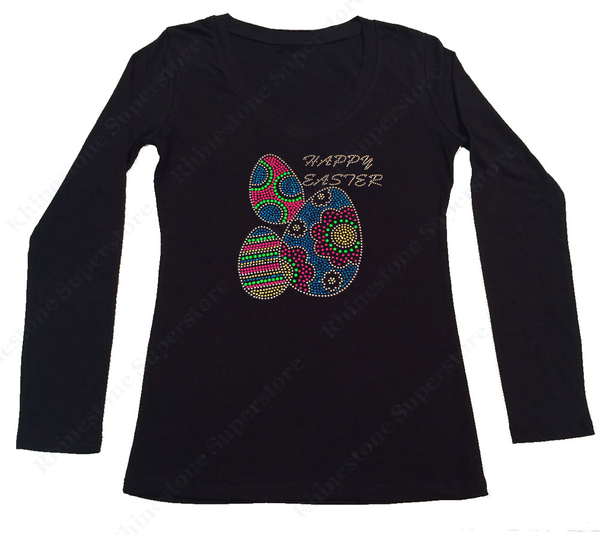 Womens T-shirt with Colorful Happy Easter Eggs in Rhinestones and Rhinestuds
