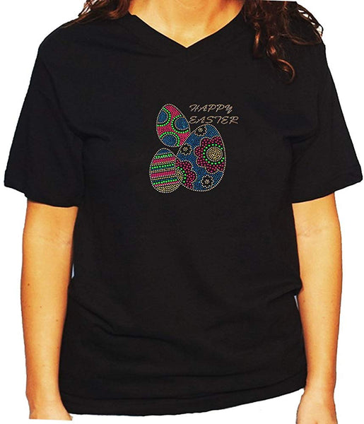 Women's / Unisex T-Shirt with Colorful Happy Easter Eggs in Rhinestones and Rhinestuds