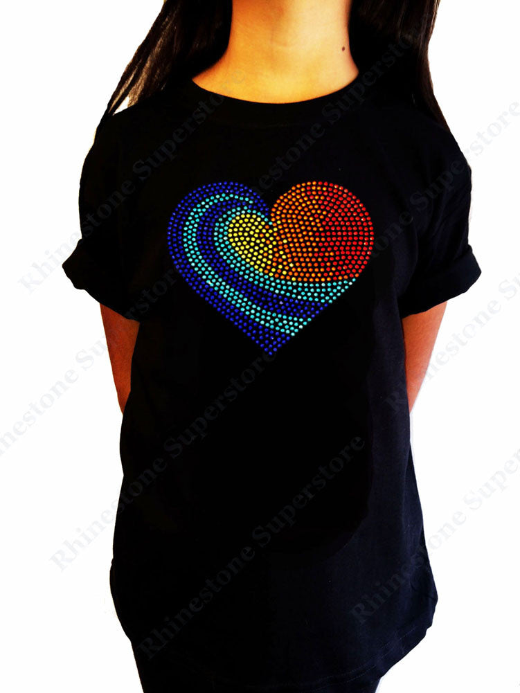 "Girls Rhinestone T-Shirt "" Colorful Heart "" Kids Size 3 to 14 Available"