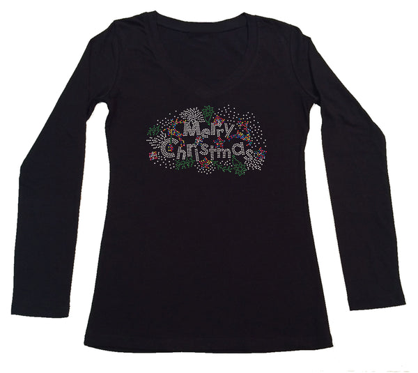 Womens T-shirt with Colorful Merry Christmas in Rhinestones