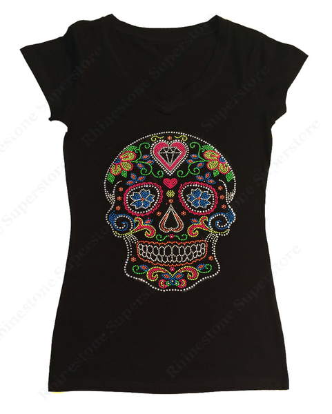 Womens T-shirt with Colorful Neon Sugar Skull in Rhinestones