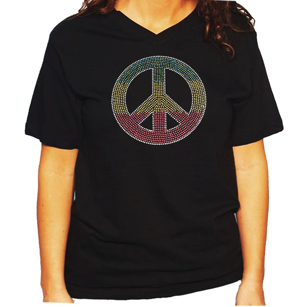 Women's / Unisex T-Shirt with Colorful Peace Sign in Rhinestones