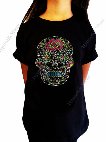"Girls Rhinestone / Suds T-Shirt "" Colorful Sugar Skull with Rose "" Size 3 to 14 Halloween"