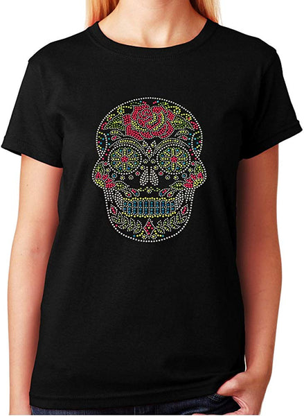 Colorful Sugar Skull with Rose in Rhinestuds